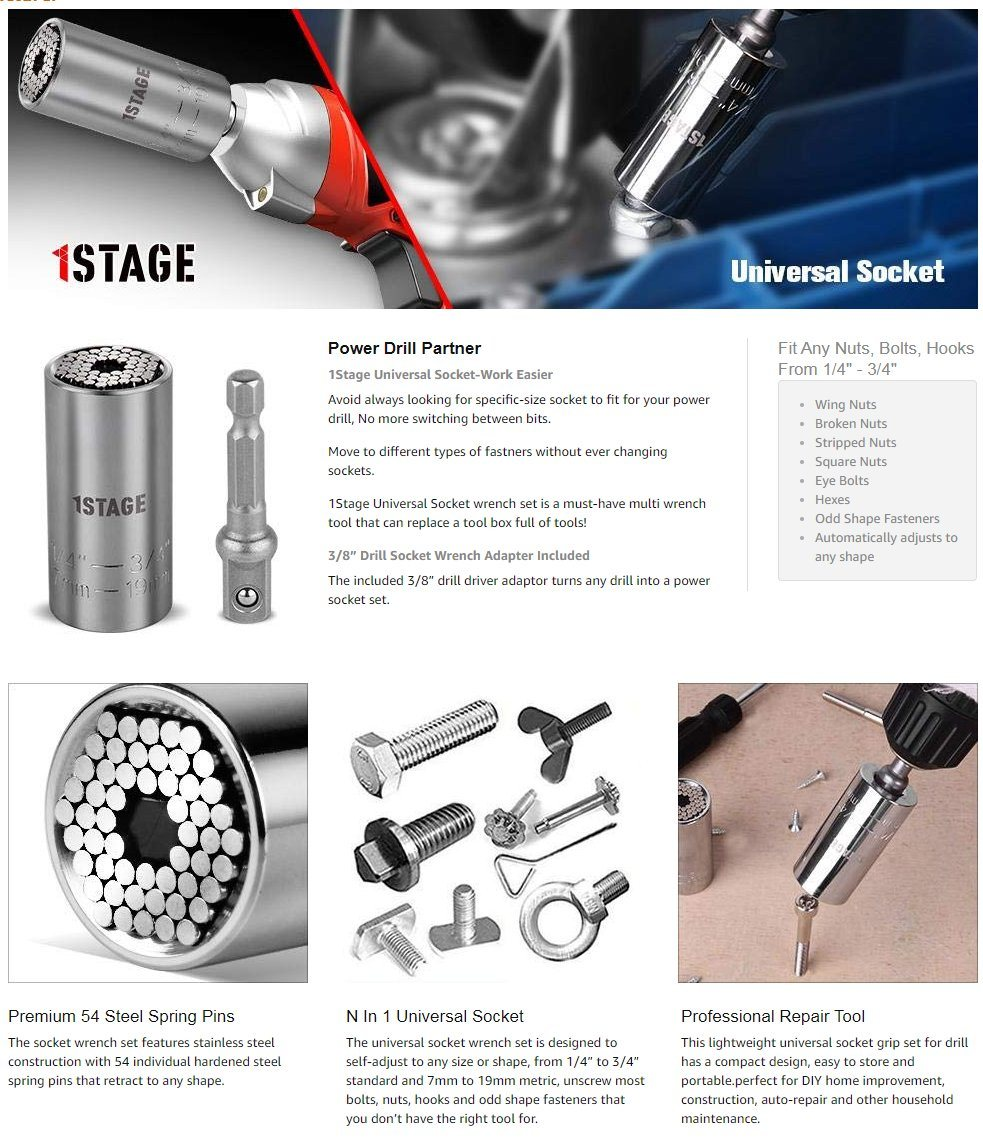 Shop for 1Stage Universal Socket, Multi-Function 7-19MM
