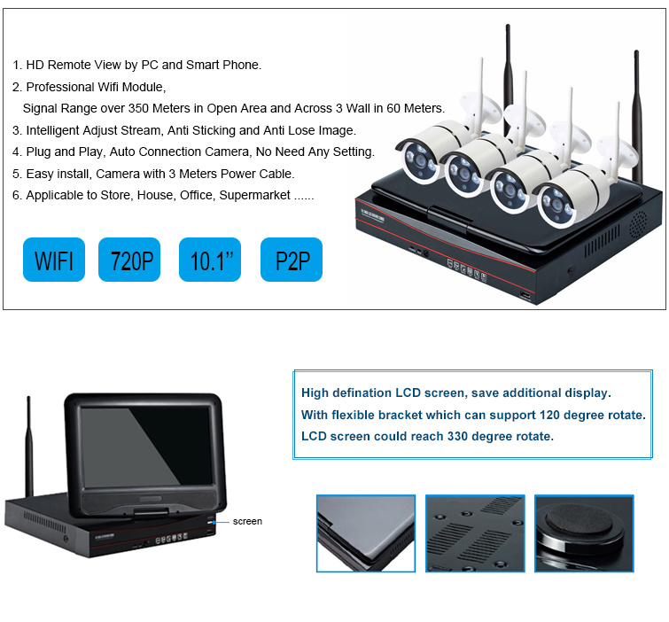 8 channel Wireless CCTV system 2 0mp wifi camera H 264 8ch wireless wifi  NVR cctv Kit with 10 1inch Monitor 1 Set / Box
