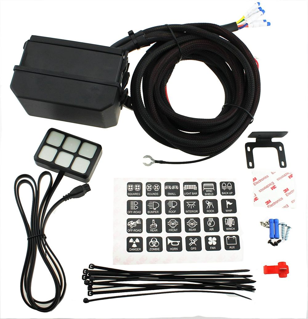 Shop For Universally 6 Gang Switch Panel Electronic Relay System Vehicle 24 Stickers 2 Screws Mounting Bracket Tape 3 And Fuse Box Har 4 Self Locking Cable Tie Terminals Quick Splice