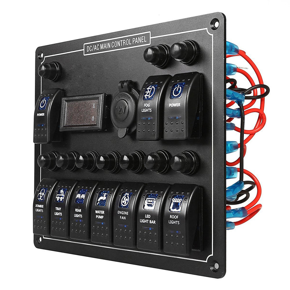 Shop For 10 Gang Waterproof Car Auto Boat Marine Led Ac Dc Rocker Battery Volt Meter Circuit Using 1 X Blue Switch Panel
