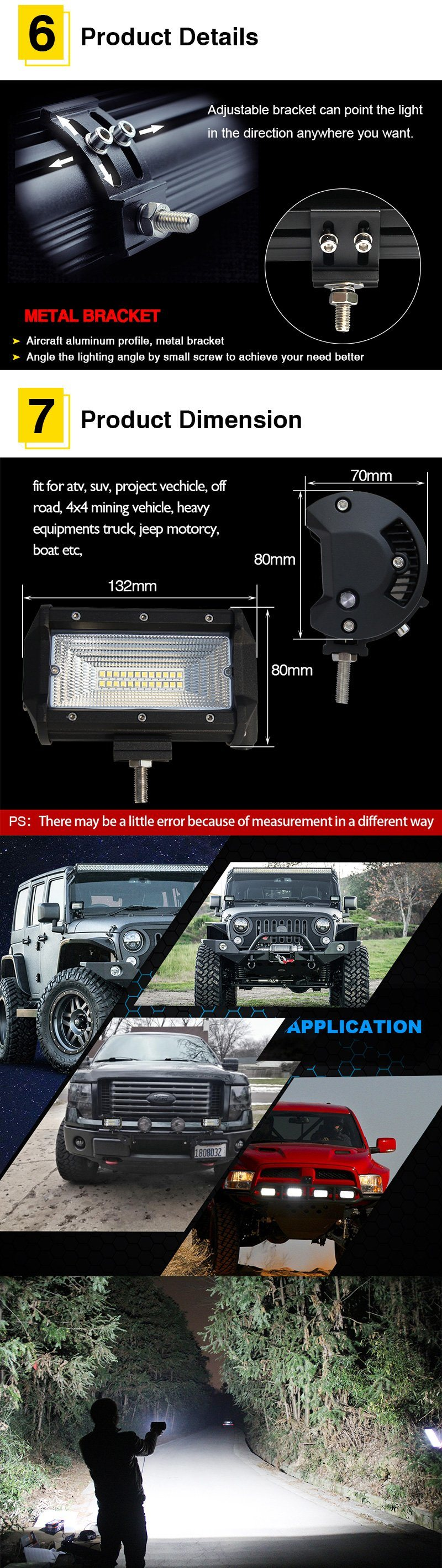 Shop For Colight 2pc 5inch 72w Off Road Led Light Bar Spot Beam Wiring Harness Fasteners Boats Package Content 1pcs Work Lights Adjustable Mounting Bracket Screw Sets