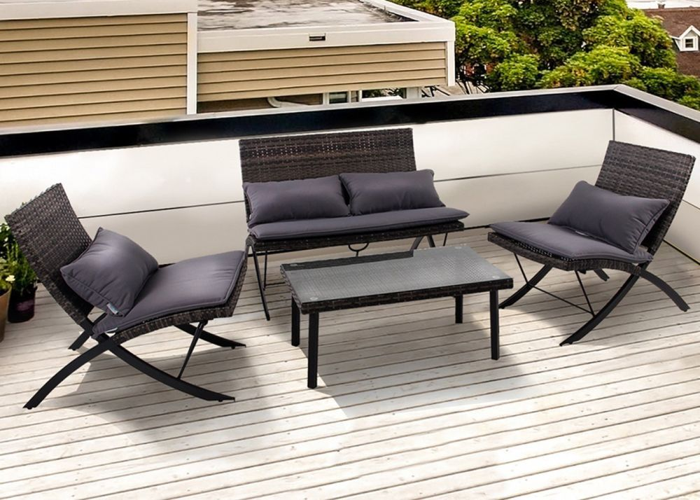 Shop For PHI VILLA Patio 4-Piece Padded Wicker Lounge Set