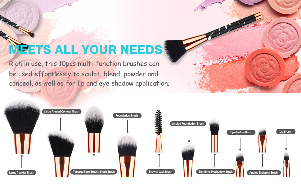 952aef9a08e1 Shop for Beauty Kate Marble Makeup Brushes 10 PCS Makeup Brush Set ...