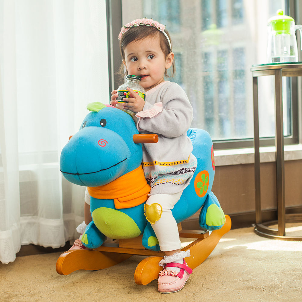 One Year Old Riding Toys : Shop for labebe wooden rocking horse blue dinosaur