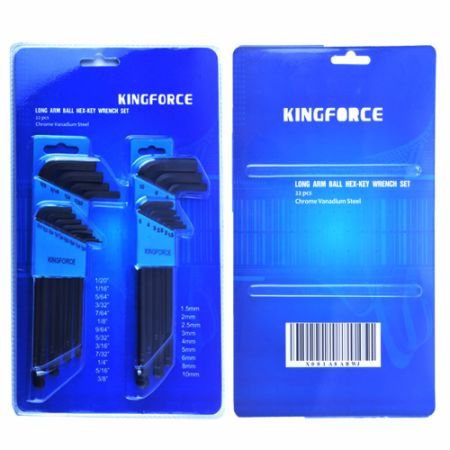 KINGFORCE 22 PCS Long Arm Hex Key/Allen Wrench Set, Ball End, CRV Material, Inch/Metric