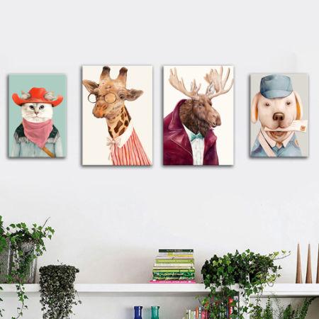 Shop for Custom Nordic Lovely Animal Canvas 3D Wall Art Framed Paper ...