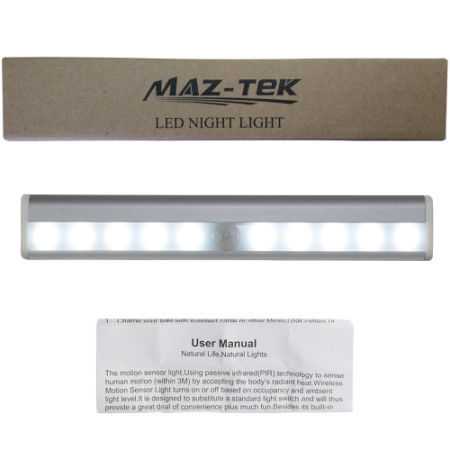 Closet Light,MAZ-TEK Portable Wireless Motion Sensing Cabinet Light Bar Stick-on Anywhere(Rechargeable Operated)