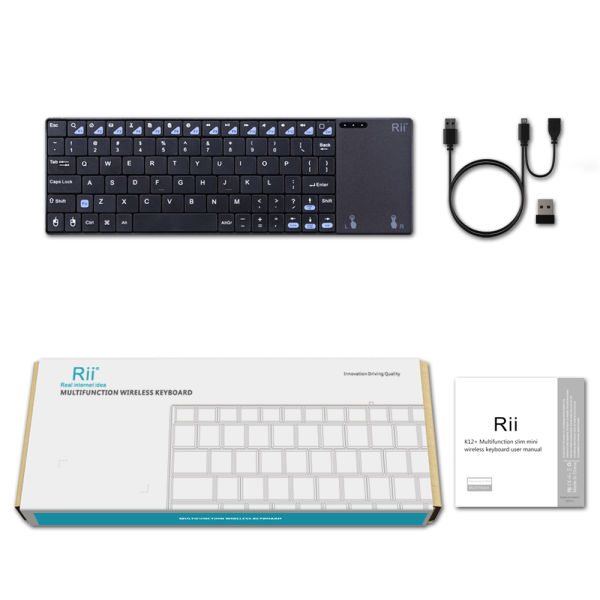 Rii Mini K12+ Stainless Steel Cover Wireless Keyboard with Built-in Large  Size Touchpad & Rechargable Li-ion Battery for PC Laptop Raspberry PI 2