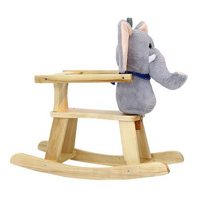 Kinbor Baby Kids Toy Plush Wooden Rocking Horse Elephant Theme Style Riding Rocker With Sound Grey 1 Piece Carton