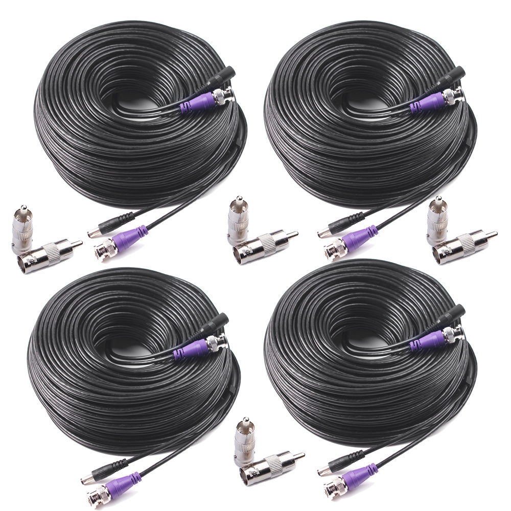 Shop For 4 Pack 100ft Hd Video Power Security Camera Cable With Bnc Surveillance Wiring Rca Connectors Pre Made All In One Extension Wire Cord 1080p 960h Cvi 960p Cctv