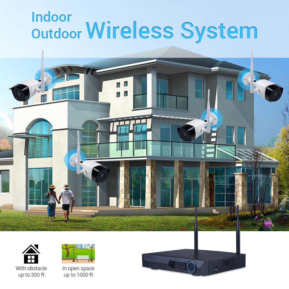 Shop for 1080P 4CH NVR Kits Wireless Network Home Security Camera ...