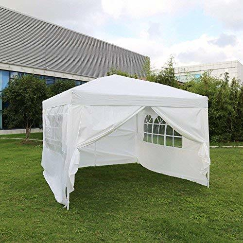 Kinbor 10' x 10' Canopy Tent Outdoor Heavy Duty Gazebo Tent Square w/ Side  Walls & Window White 1 Piece / Box