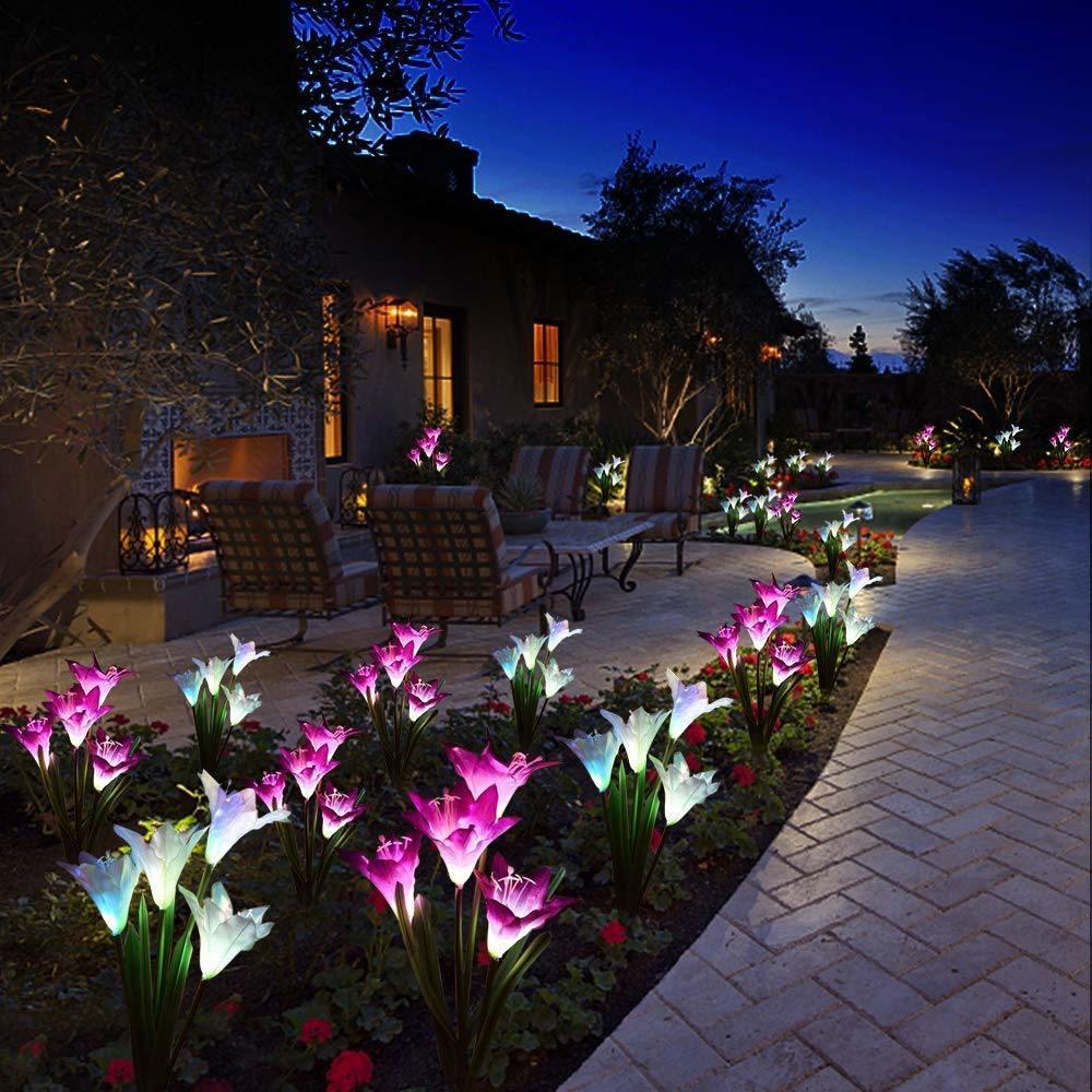 Set of 2 Solar Powered Dog Yard Garden Stake Color Changing LED Light