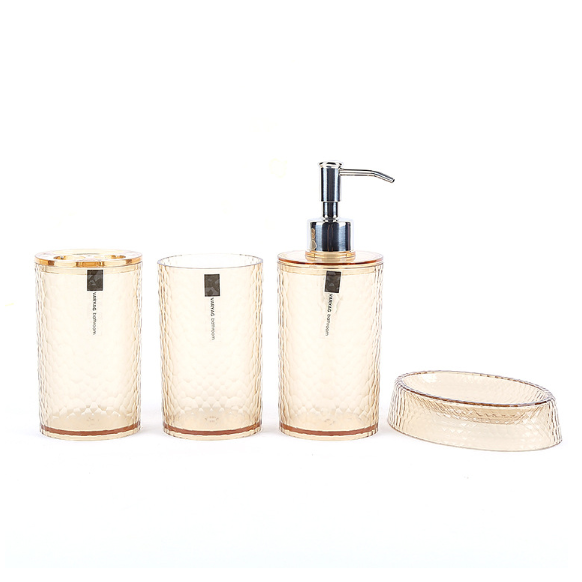 e051b1306b27 Shop for 4 Piece Bathroom Accessories Set Featuring a Soap Dispenser,  Toothbrush Holder, Tumbler, and Soap Dish, Coffee at Wholesale Price on  Crov.com