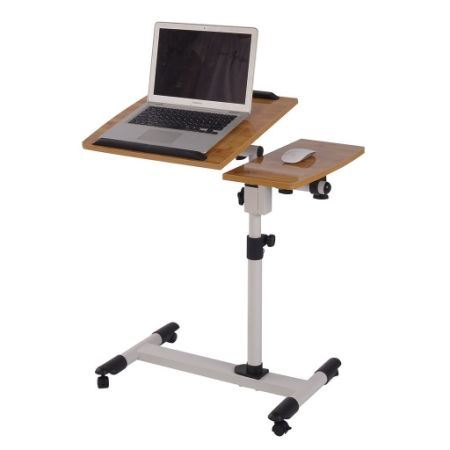 Qwork Mobile Laptop Desk Cart Tilting Table With Dual Surface, Angle And  Height Adjustable Over