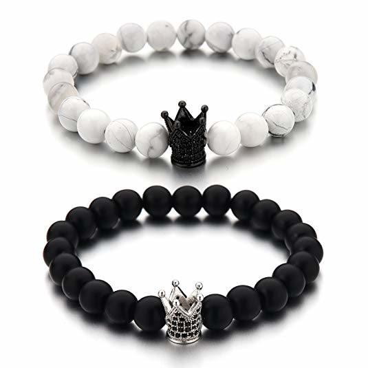 Couples His /& Hers Bracelet Black Matte Agate /& White Howlite 8mm Beads Bracelet Crown Bracelet Friendship Relationship Bracelet