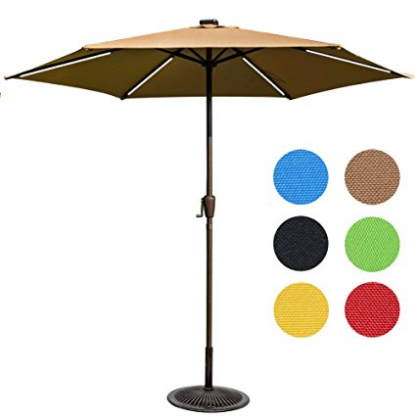 Sundale Outdoor 9 Ft Solar Powered 6 LED Stripe Lighted Patio Umbrella  Table Market Umbrella With