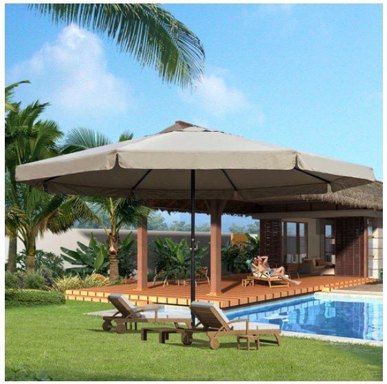 For Sundale Outdoor 16 Ft Aluminum Patio Umbrella Table Market Drape With Crank And Cross Bar Set Garden Deck Backyard Pool 8 Alu