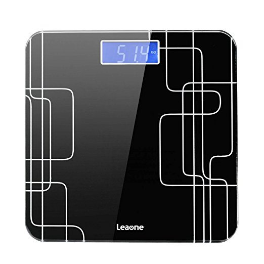 Leaone Digital Thick Glass Body Weight Scale, Body Fat Scales LED Screen, 6  mm Thickness 400 Pound, Step-On Technology-ZB1001 1 Set / Box