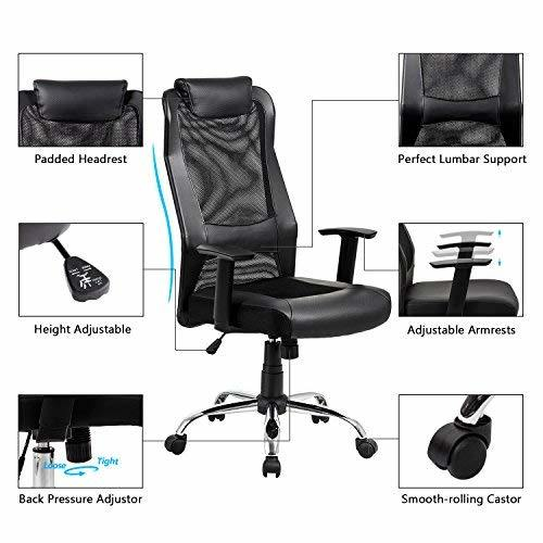 Astonishing Heonsit High Back Mesh Office Chair Ergonomic Computer Desk Task Executive Chair With Padded Leather Headrest And Seat Adjustable Armrests Black 1 Home Interior And Landscaping Ologienasavecom