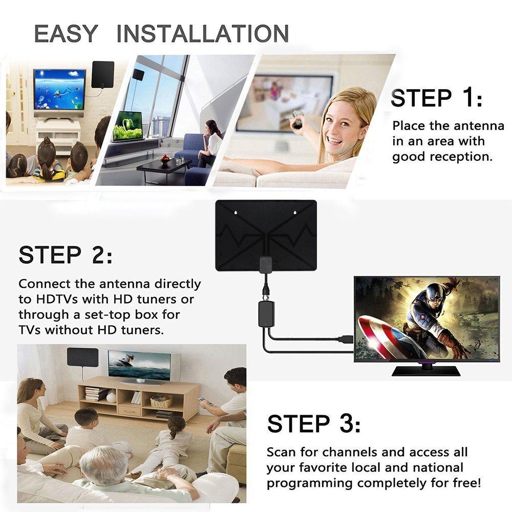 Shop for New High Gain Flat TV Antenna Digital HDTV/HD/UHF/VHF TV