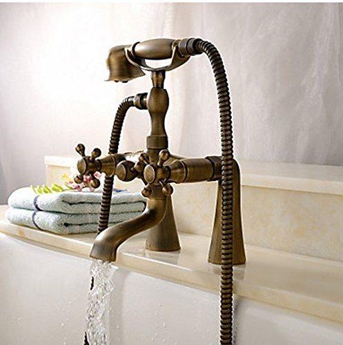 Deck Mount Bathtub Faucet.Flg Deck Mount Bathtub Faucet Antique Dual Handle Mixer Tap With Hand Shower 1 Piece Box