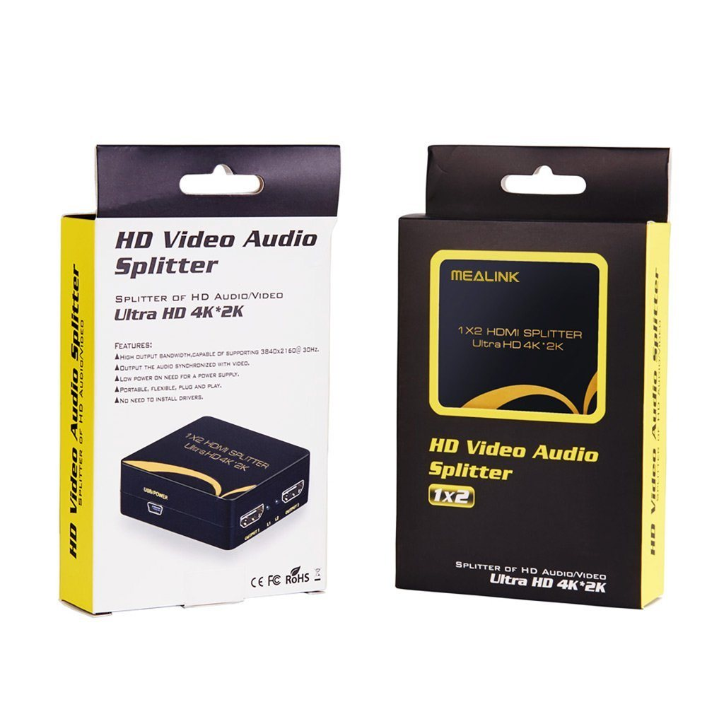 Shop For Mealink 1x2 Port 1 In 2 Out Hdmi Splitter Ver14 Support Laptop Audio Circuit Diagram Uhd 4k2k 3840x21603d Hdtvs Projector Powered Blue Ray Dvd Player Ps3 Ps4 Set Top
