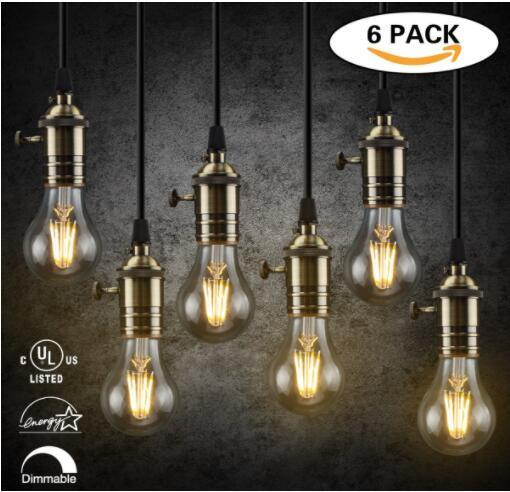 For A19 Dimmable Edison Led Bulbs E26 Base Vintage Light Filament Home Indoor Decorations 2700k Warm White