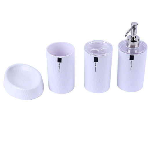 4 Piece Bathroom Accessories Set Featuring a Soap Dispenser, Toothbrush  Holder, Tumbler, and Soap Dish, White 4 Sets / Package