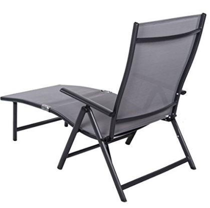 Sundale Outdoor Deluxe Aluminum Beach Yard Pool Folding Chaise Lounge Chair  Recliner Outdoor Patio