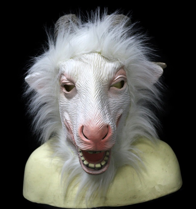 GREY farm Animal Head Party Halloween Prop Photography Theater Mask Latex GOAT