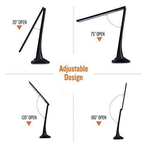 BONASHI Cordless LED Desk Lamp Rechargeable with USB Port, Touch Control  Diammable Table Reading Lights with Calendar/Alarm/ Clock LCD Display and