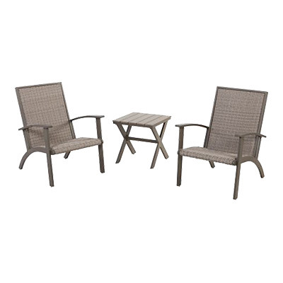 Grand Patio 3 Piece Wicker Conversation Set, Aluminium Outdoor Chat Set,  Weather Resistant