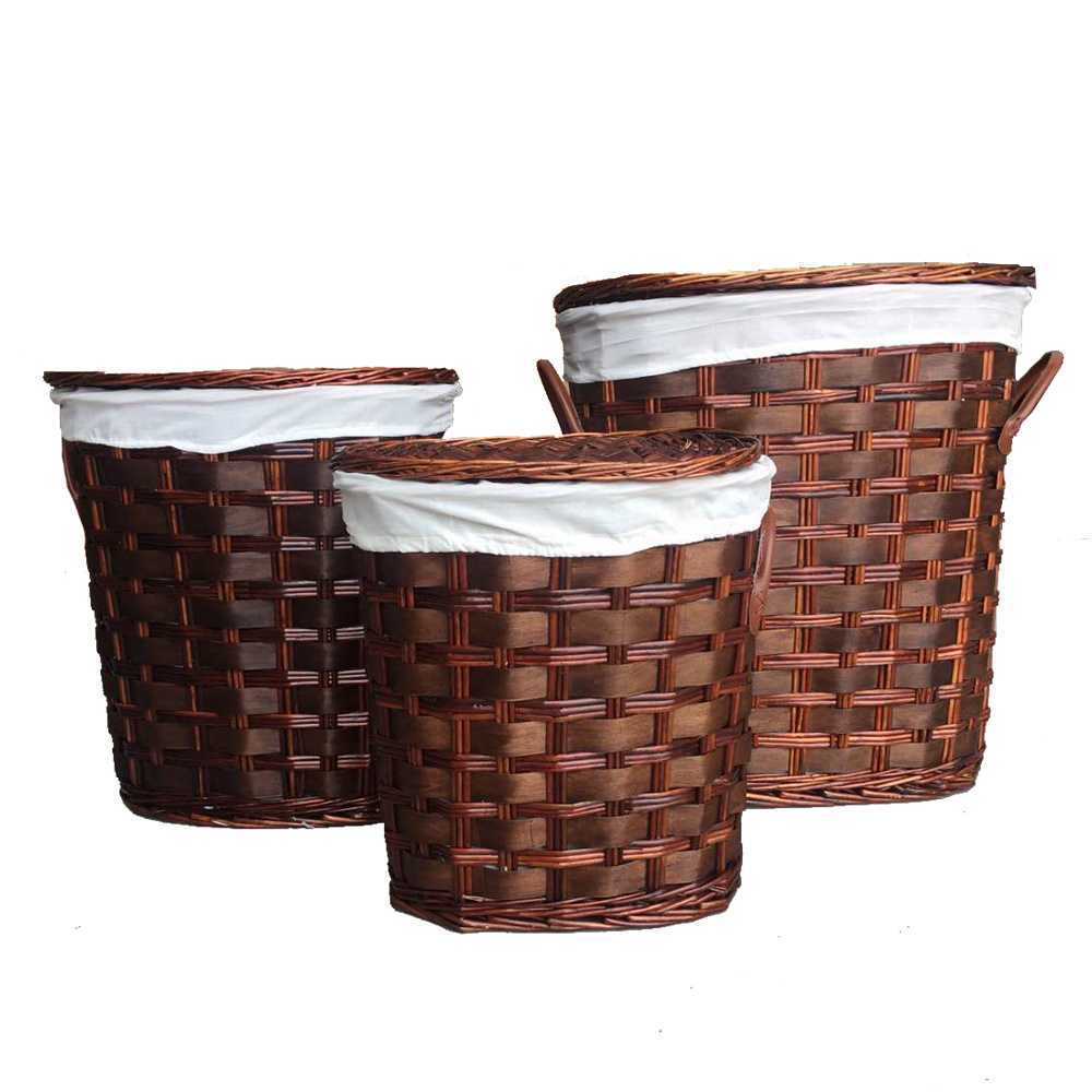 Shop for SANJET Willow Laundry Storage Baskets with Lid H&er Handmade Woven Wickeru0026Cattail Oval Closet Organizer (Set of 3 Dark Brown) at Wholesale ...  sc 1 st  Crov.com & Shop for SANJET Willow Laundry Storage Baskets with Lid Hamper ...