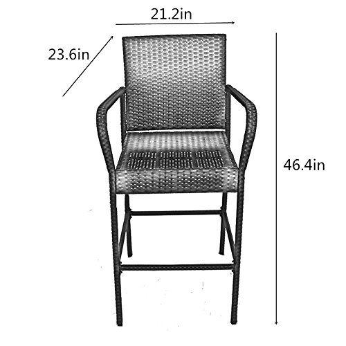 Strange Patio Chair Rattan Bar Stool Set Pool Furniture Black Pe Wicker High Leg With Beige Cushions Set Of 2 1 Set Carton Machost Co Dining Chair Design Ideas Machostcouk