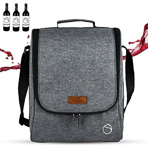 78b87ce129a7 Freshore 3 Wine Totes And Carriers Insulated Tumbler Bottle Wine Bag For  Gift- High Capacity Storage 2 Wine Glasses Or Champagne (Space Grey) 1  Piece ...