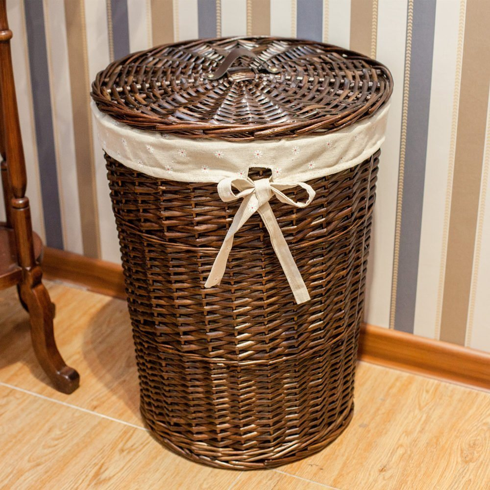 For Sanjet Jl 012 Laundry Storage Baskets With Lid Hamper Handmade Woven Wicker Cattail Round Closet Organizer Set Of 3 Brown At Whole On
