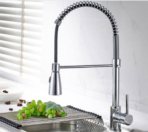 Spring Style Kitchen Faucet Brushed Nickel Faucet Pull Out Torneira All  Around Rotate Swivel 2-Function Water Outlet Mixer Tap 1 Piece / Box