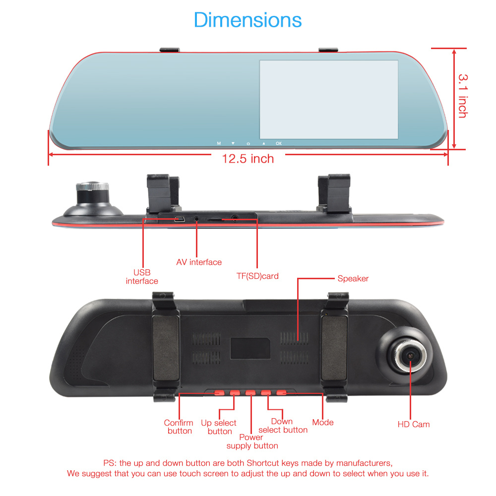 Shop for Car Mirror Dash Cam, Night Vision Car Camera DVR Recorder, Full HD 1080P Rear View Mirror Reverse Camera with 4.3'' LCD Touch Screen, ...
