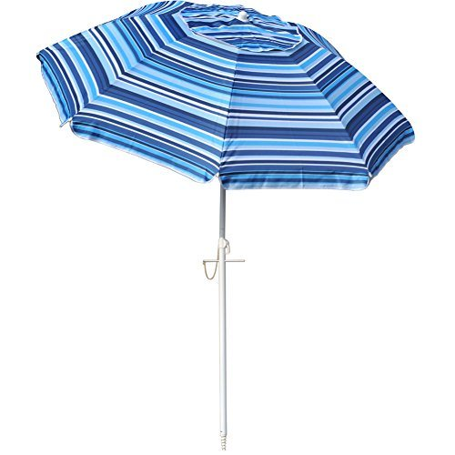 Snail 6 5 Ft Beach Umbrella Silver Coating Inside Uv Protection Upf50 Fiberglass Ribs With Integrated Sand Anchor Carry Bag Included Blue Stripes 1