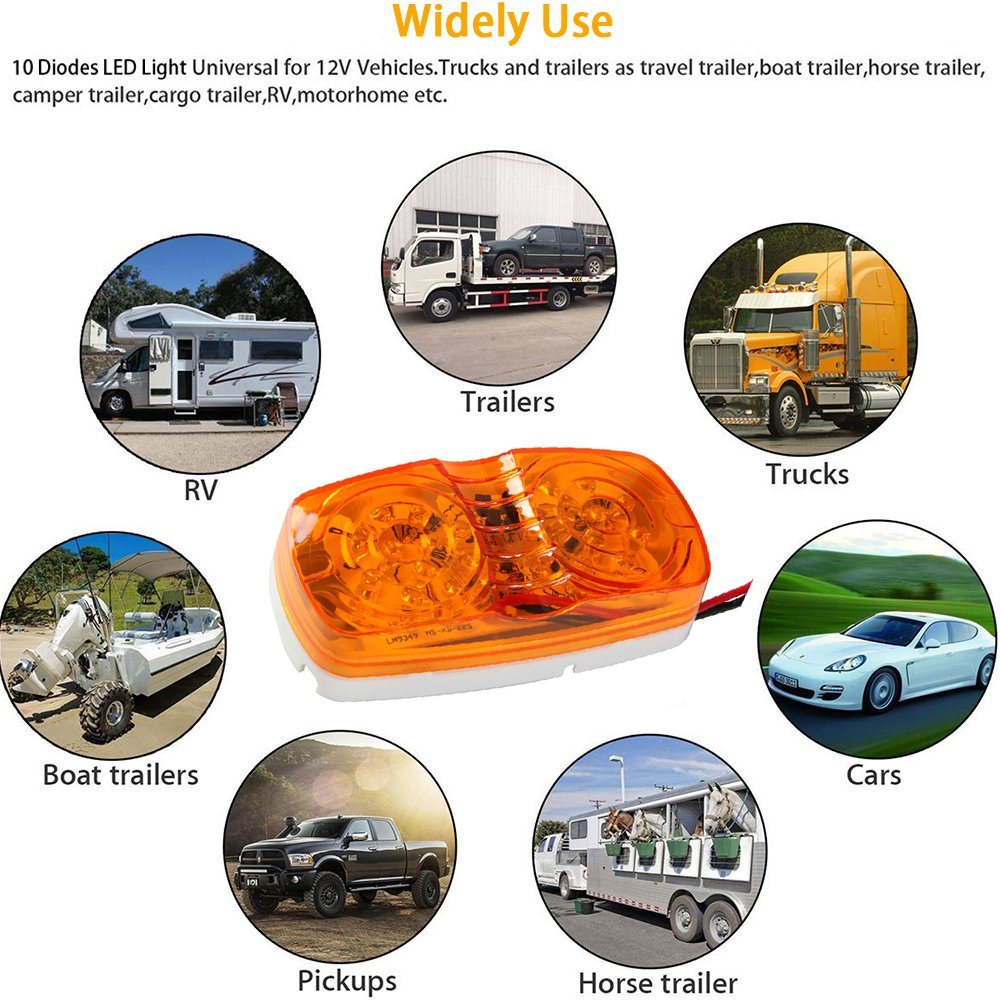 Shop For Auto Lighting Amber Clearance Double Bullseye 10 Diodes Led Leds On 12v Cars And Trucks Side Marker Lights Cab Trailer Pack Of 5 At Wholesale Price