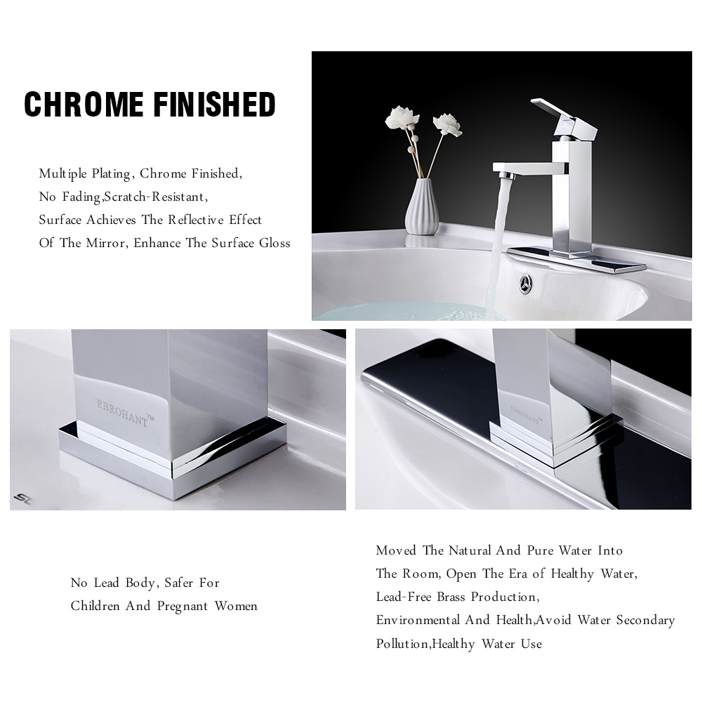 Rbrohant 1 Or 3 Hole Bathroom Basin Sink Faucet Matte Black
