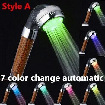 7 Color Crystal Led Hand Shower Head Led Tourmaline SPA Anion Shower Ducha  Chuveiro Led Shower