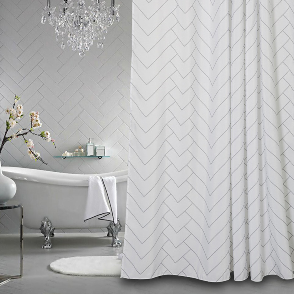 Shop for Hotel Quality White Striped Mold Resistant Fabric Shower ...