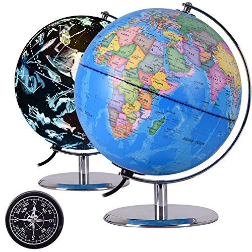 Map Of The World With Compass.Shop For Qwork Illuminated Constellation World Globe With Compass 9