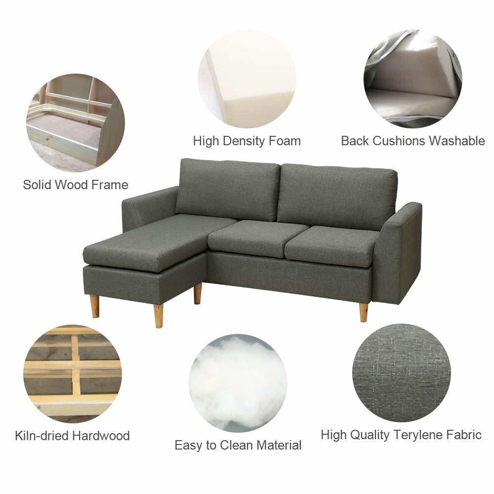 Shop for Modern Microfiber Sectional Sofa - Small Space Configurable ...