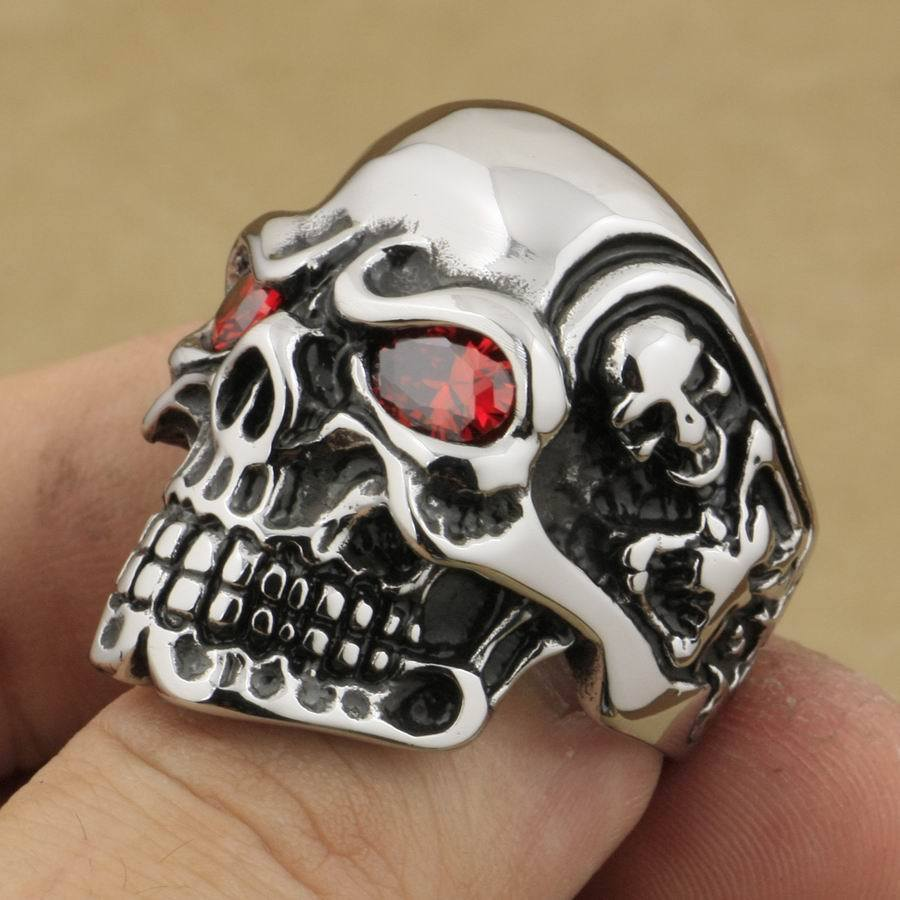 2899ff55f2a2a Shop for 316L Stainless Steel Red CZ Eyes Titan Skull Ring Mens ...