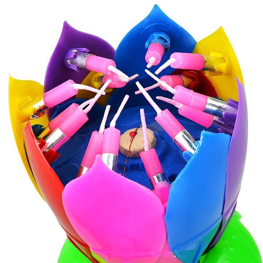 Shop For 3 Pack Birthday Candles Multi Color Musical Candle Lotus Rotating Flow Play Music At Wholesale Price On Crov