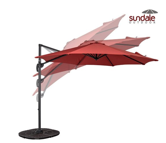 For Sundale Outdoor 10ft Offset Hanging Umbrella Market Patio Aluminum Cantilever Pole With Crank Lift Corss Frame Polyester Canopy
