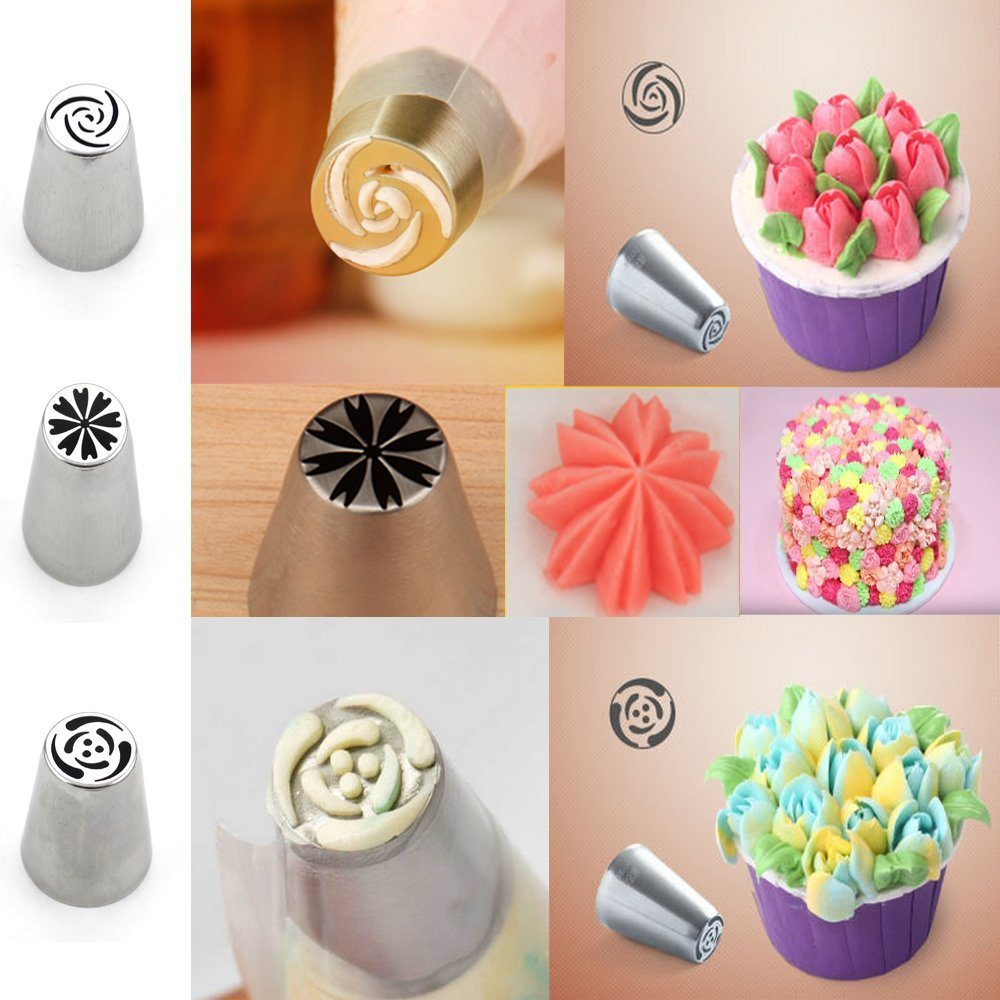 Shop For Set Of 10 Different Flower Nozzles Russian Icing Piping Layout Tips Hollow Out Designing It Is Convenient You To Do Lovely Perfect Big Or Small Cakes Cupcackes Puffs Pastry Even Just Fun